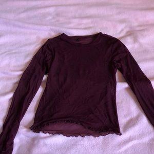 See through mesh maroon shirt